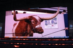 12/6/2009: On the big screen at Jerry World for the Big 12 championship game against Nebraska, Cowboys Stadium, Arlington